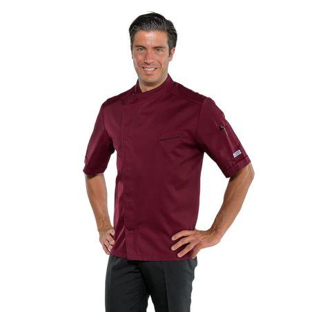 Veste de Cuisine Homme Bordeaux 059303 Isacco Manches courtes